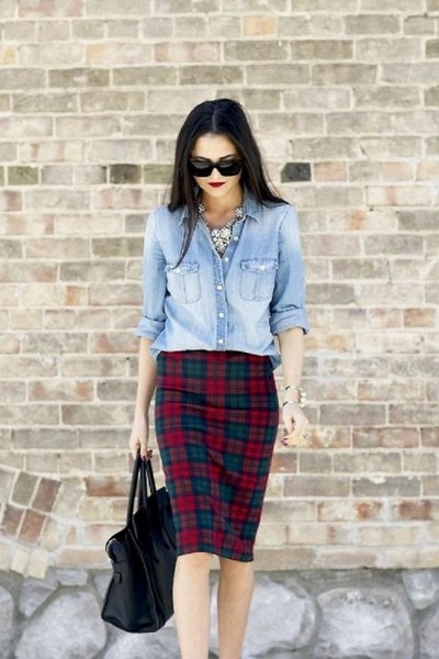 Pair-Plaid-Skirt-or-Pants-with-Denim-Shirt