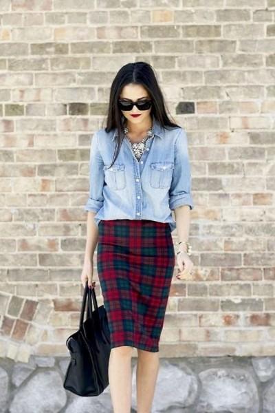 Pair-Plaid-Skirt-or-Pants-with-Denim-Shirt