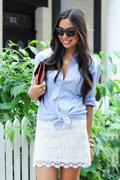 ボーイフレンドシャツ×ミニ丈スカート